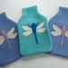 """Hotwater Bottle Cover """" Lilac Dragon fly on Cornflower Blue"""""""