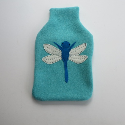 "Hotwater Bottle Cover "" Turquoise Dragon fly """