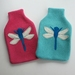 """Hotwater Bottle Cover """" Turquoise Dragon fly """""""