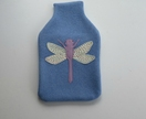 "Hotwater Bottle Cover "" Lilac Dragon fly on Cornflower Blue with Rainbow wings"""