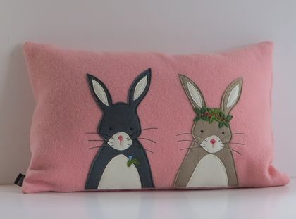 "Cushion ""Mr and Mrs Rabbit"" on Vintage pink."