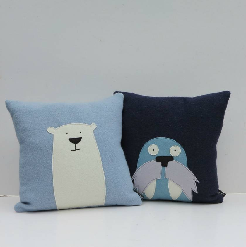"Cushion "" Mr Polar Bear"" on Ice blue"