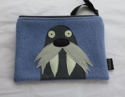 "Large Purse, Pencil Case, Kindle Case or Mini Ipad Case ""Mr Walrus"" on cornflower blue."