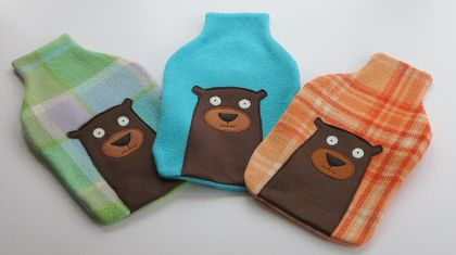 "Hotwater Bottle Cover ""Mr Bear (Yogi) "" on Turquoise"