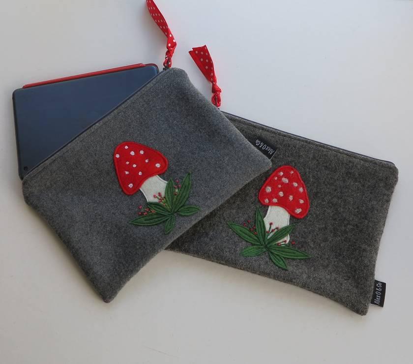 "Mini Ipad Case, Kindle Case, Large Purse or Pencil Case  ""Mushroom Design"""