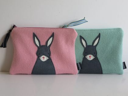 "Large Purse, Pencil Case, Kindle Case or Mini Ipad Case ""Mr Rabbit"""