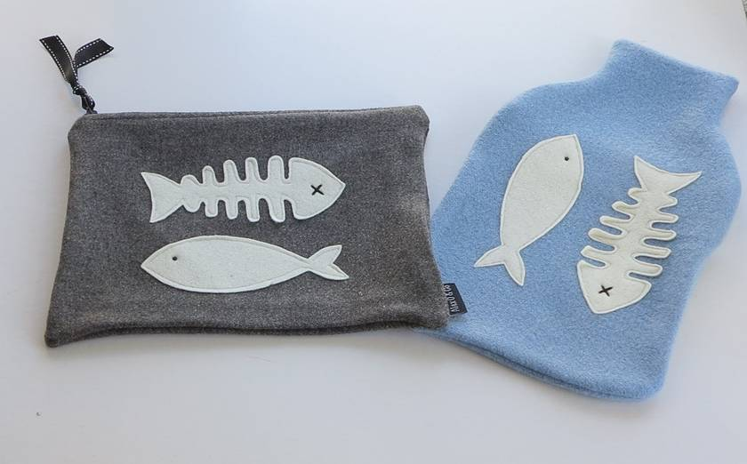 "Hotwater Bottle Cover ""For the Love of Fish"""