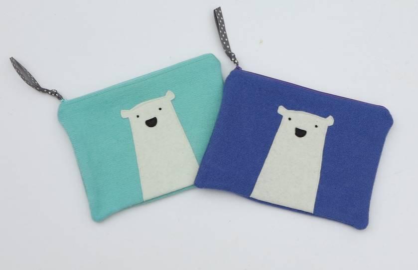 """Mini Ipad Case or Kindle Case or Large Purse """"Mr Polar Bear"""""""