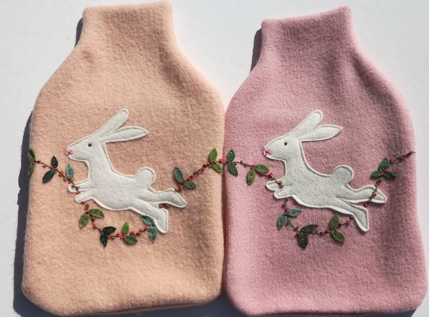"Hotwater Bottle Cover ""Happy Rabbit"""