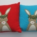 "Cushion ""Little Miss Rabbit""  You choose the cushion colour either red or turquoise"