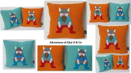 Viking  Cushion on Teal