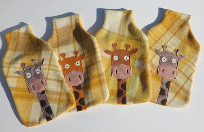 "Hotwater Bottle Cover "" Mr Giraffe "" (Melman) on Yellow Check"