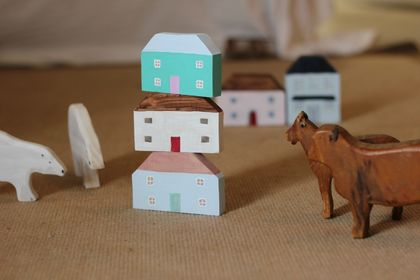 Toy wooden house set