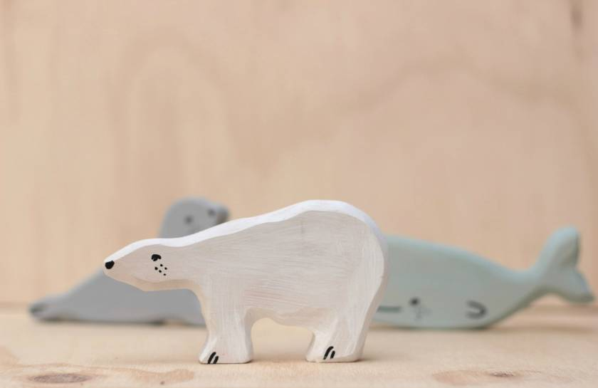 Wooden polar bear toy