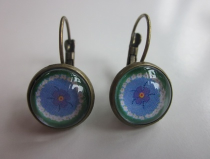 Pretty Green & Blue French Hook Earrings