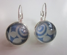 Gorgeous Blue & White French Hook Earrings