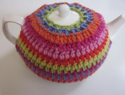 Rainbow Striped Tea Cosy (and free teapot!)