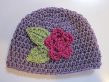 Pretty Lilac/Mauve Wool Baby Hat