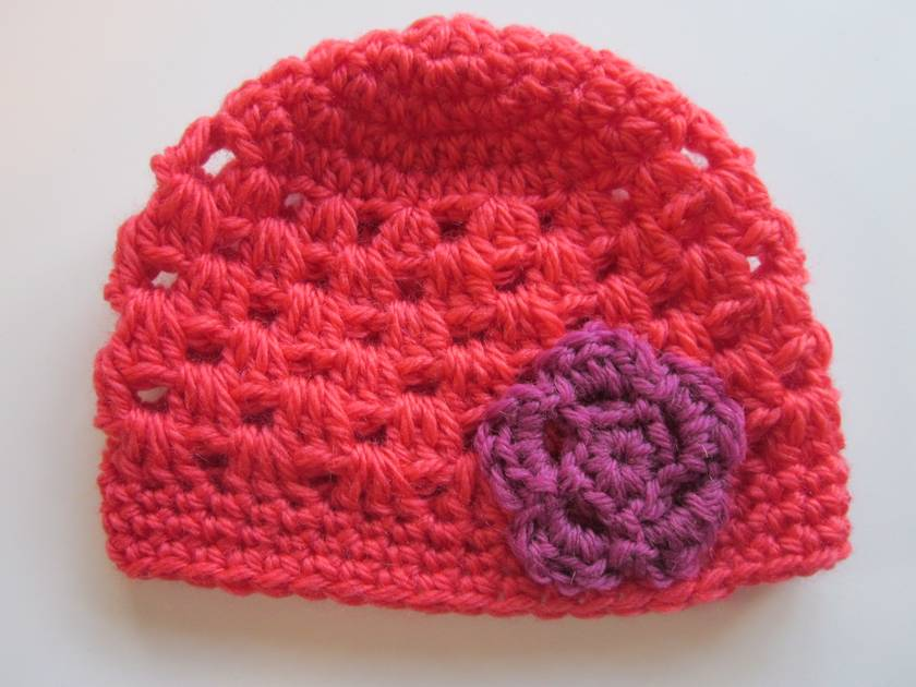 Gorgeous Coral and Cerise Baby Hat