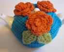 Gorgeous Turquoise Blue and Orange Tea Cosy (with free teapot!!)