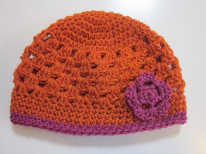 Gorgeous Orange and Pink Wool Hat