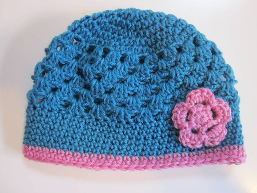 Gorgeous Turquoise and Pink Wool Hat