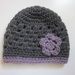 Gorgeous Grey and Mauve Pure Wool Baby Hat