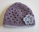 Gorgeous Mauve and Grey Baby Hat - pure wool