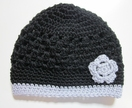 Gorgeous Black and Grey Pure Wool Beanie - Adult Size