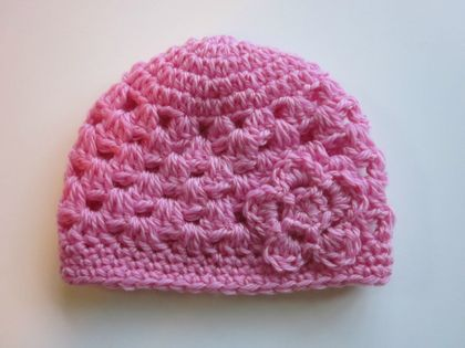 Gorgeous Pink Pure Wool Baby Hat