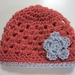 Gorgeous Pure Wool Baby Hat - Dusky Coral and Light Grey