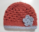 Gorgeous Dusky Coral and Light Grey Pure Wool Baby Hat