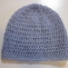 Pure Wool Slouch Beanie - Pale Grey/Blue