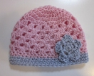 Gorgeous Pure Wool Baby Hat - Light Pink and Grey