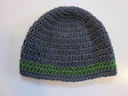 Cosy and Warm Grey and Green Beanie