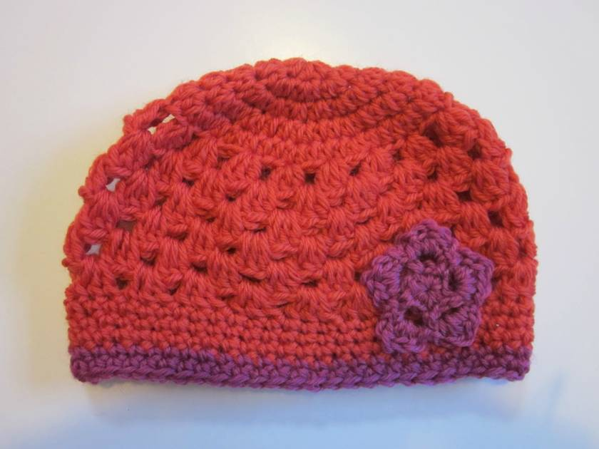 Gorgeous Pure Wool Baby Hat - Orange and Cerise Pink