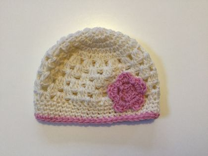Gorgeous Pure Wool Baby Hat - Creamy White and Light Pink