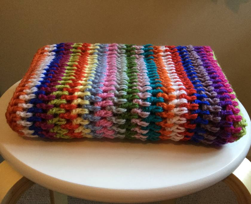 Rainbow Striped Pure Wool Baby Blanket