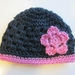 Gorgeous Navy/Ink and Pink Pure Wool Baby Hat