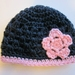 Gorgeous Navy/Ink and Light Pink Pure Wool Baby Hat