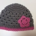 Gorgeous Mohair & Wool Grey and Pink Baby Hat