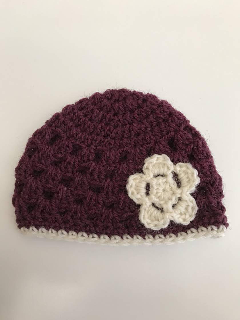 Gorgeous Plum and Cream Pure Wool Baby Beanie