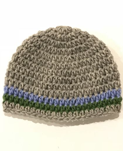 Gorgeous Pure Wool Baby Beanie - Grey/Blue/Green