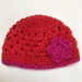 Gorgeous Orangey/Red and Pink Pure Wool Baby Hat