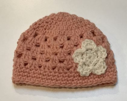 Apricot and Cream Pure Wool Baby Hat