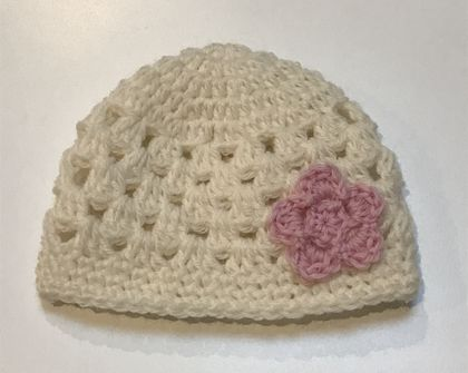 Cream and Pink Pure Wool Baby Hat