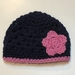 Navy and Pink Pure Wool Baby Hat