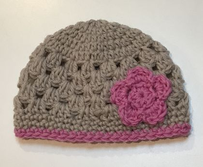 Fawn and Pink Pure Wool Baby Hat