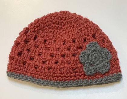 Terracotta and Grey Pure Wool Baby Hat