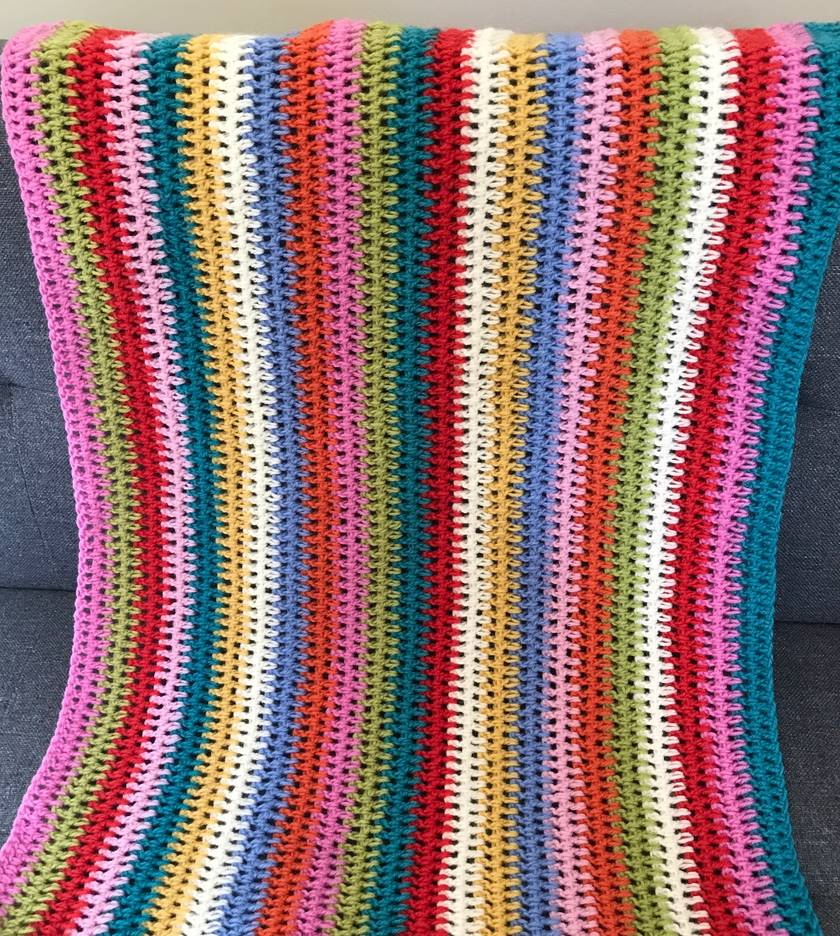 Beautiful Rainbow Striped Pure Wool Baby Blanket